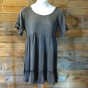Short dress with denim shirt sleeve - NEW